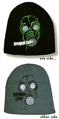 GREEN DAY Reversible Beanie Hat/Cap Black & Gray Authentic Licensed NEW