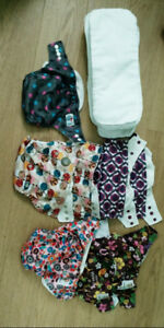 8 OS cloth diapers with microfiber inserts