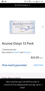 Acuvue oasys 2 weeks contact lens - 12 lenses - 8.00 SEALED.