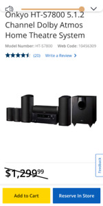 New - Onkyo HT-S7800 5.1.2 Dolby Atmos Wi-Fi Home Theater System