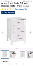 Osaka 3 Drawer bedside tables only £40 each. Real Bargains Clearance O