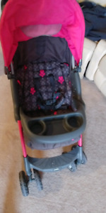 Pink and grey match car seat and stroller