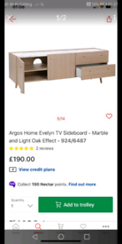 Evelyn TV Storage Unit marble side board only £95. Real Bargains Clear