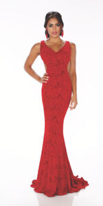 Scarlet Red Full Length Prom Dress