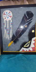 Shadow box dreamcatcher and painted feather