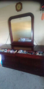 Cherry Wood Dresser and Mirror