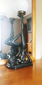 "► NUDE WOMAN Art Deco Style Tall 30"" Black Resin Table Lamp"