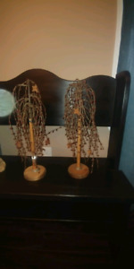 Pair of primitive burgundy berry rusty star willow trees