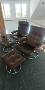 2 Ekornes Chairs and Ottoman