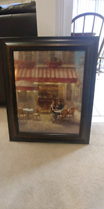 Nice romantic oil painting with wood frame