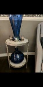 Marble and silver end table
