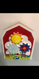 Wooden activity cube house