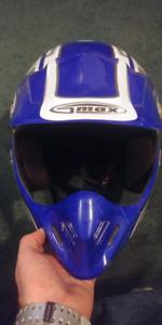 Medium blue motocross helmet