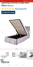 Crush velvet silver silver ottoman bed frame only £150. Real Bargains