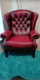Antique Deep Button Leather Chesterfield