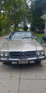 Classic Mercedes 380SL convertible with hardtop