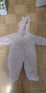 Pink bear infant snowsuit