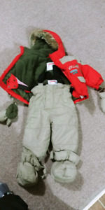 12 month boys winter snow suit 2pc with boot covers and mittens