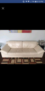 2 Identical White Leather Sofas Genuine Leather + Wood
