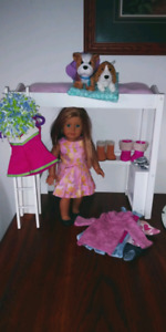 American girl doll, bed, pets and clothing!
