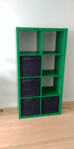 Green Ikea KALLAX shelf unit, boxes included