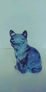 Blue Glass Seated Cat
