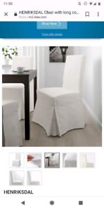 4 Ikea Henriksdal chairs with long bekinge white covers included