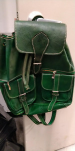 Funky style leather backpack, nice color, almost new.