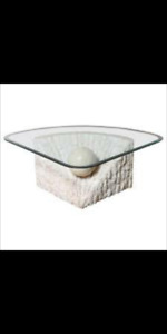 2 Stone glass tables 1 coffee table 1 end table..