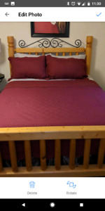 Natural wood Queen bed head/ foot board and frame