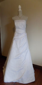 White Satin wedding gown, strapless, lace-up back, worn once