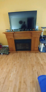 Electric fireplace and wine cooler