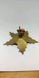 Maple Leaf Brass Candle Holder