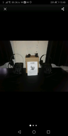 2 voice canceling mic phone headsets