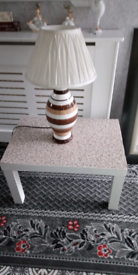 Wee table and lamp for sale.