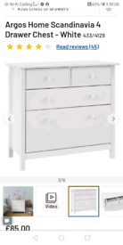 White 4 Drawers Storage Chest only £45. Real Bargains assembled Cleara