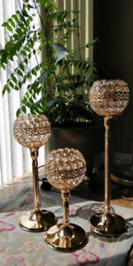 Crystal candle holders. Decorative. Centrepieces.
