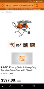 Rigid Table Saw with Portable Stand