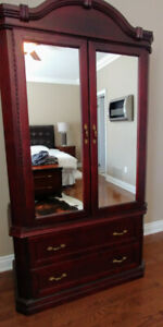 Armoire Wardrobe with 2 drawers, rod
