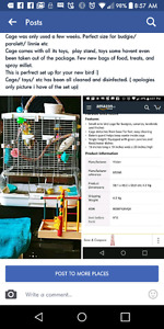 Bird cage with toys, food etc