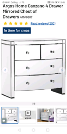 Mirrored Canzano Chest of Drawers only £160. Real Bargains Clearance O