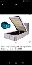 Single ottoman silver crush velvet Bed Frame only £125. Real Bargains
