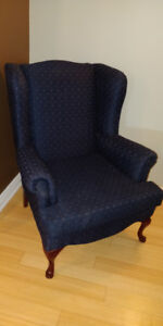 blue classic wingback chair