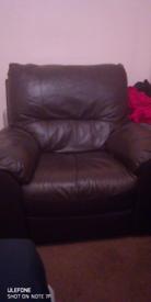 Big Darkish brown leather armchair