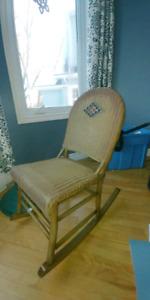 Antique wicker rocking chair
