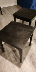 Good condition solid wood black side end tables pair