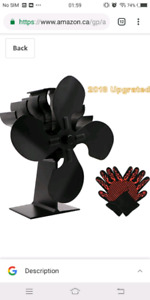 Heat Powered Wood Stove Fan,Upgraded 4-Blade