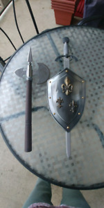 Replica of battle sword and axe