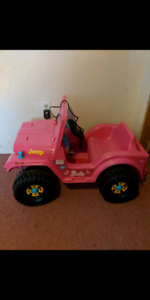 Pink electric Barbie Jeep!