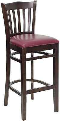 Walnut Wood Finished Vertical Slat Back Restaurant Bar Stool With Burgundy Vinyl